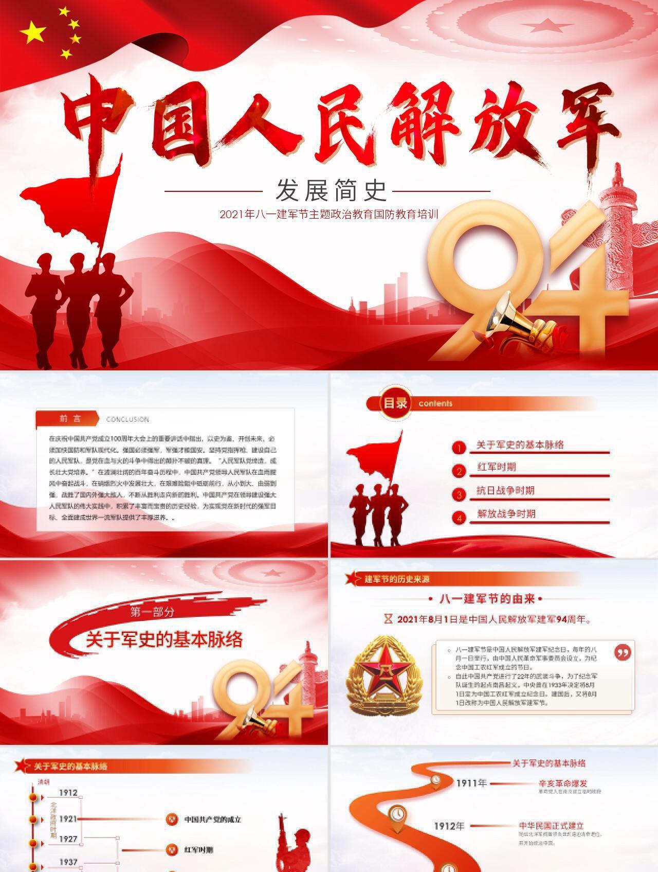 党政风中国人民解放军发展简史国防教育PPT模板