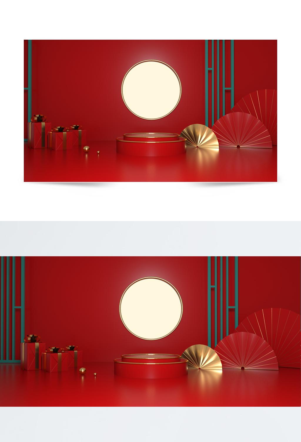红色中国风舞台背景