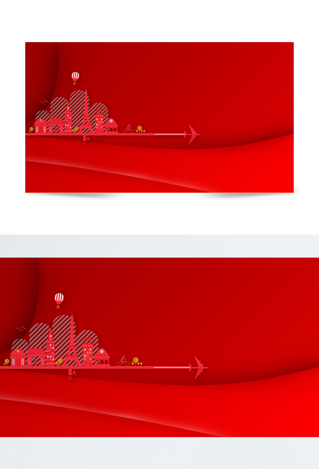 红色城市剪影背景
