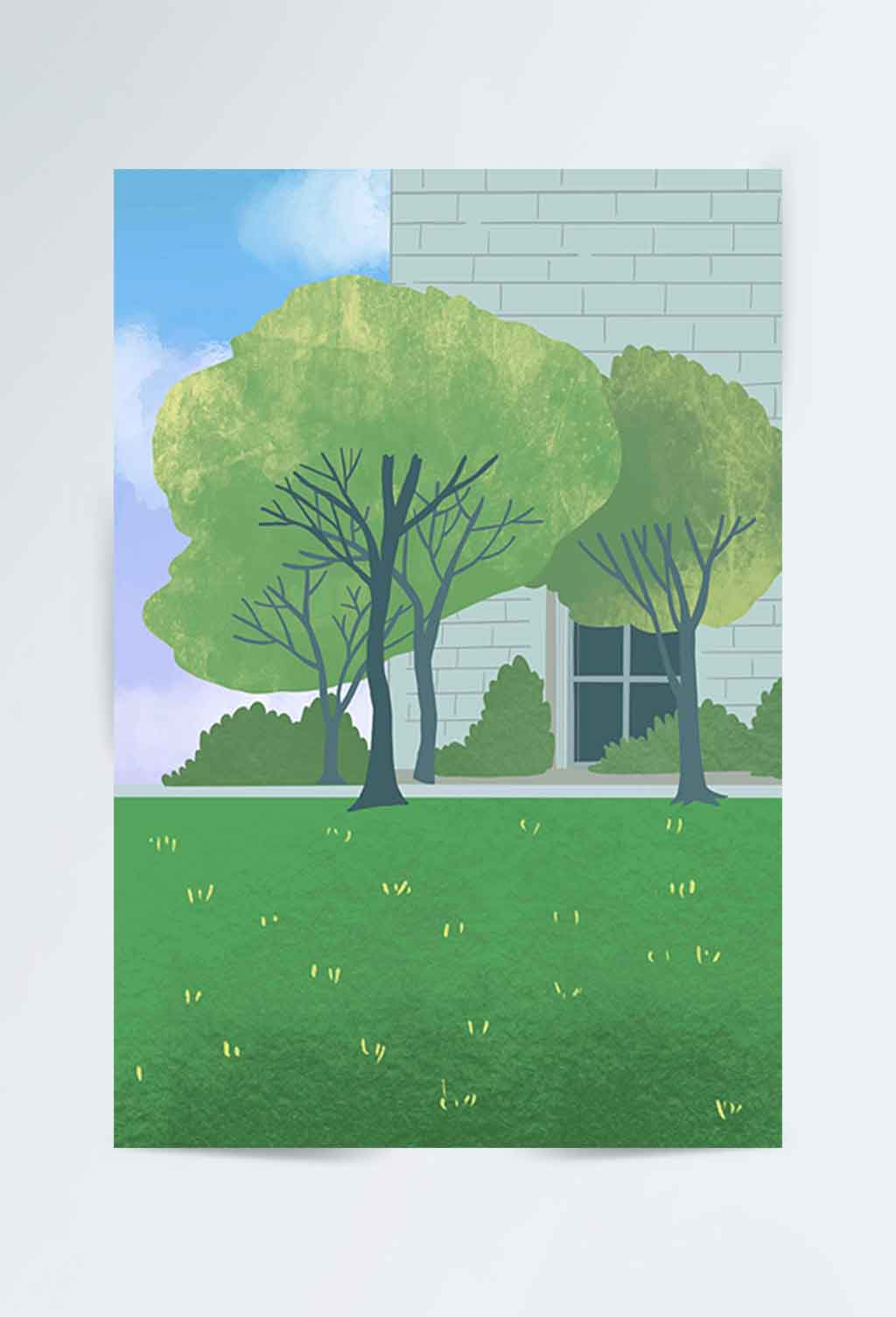 手绘校园风景背景素材