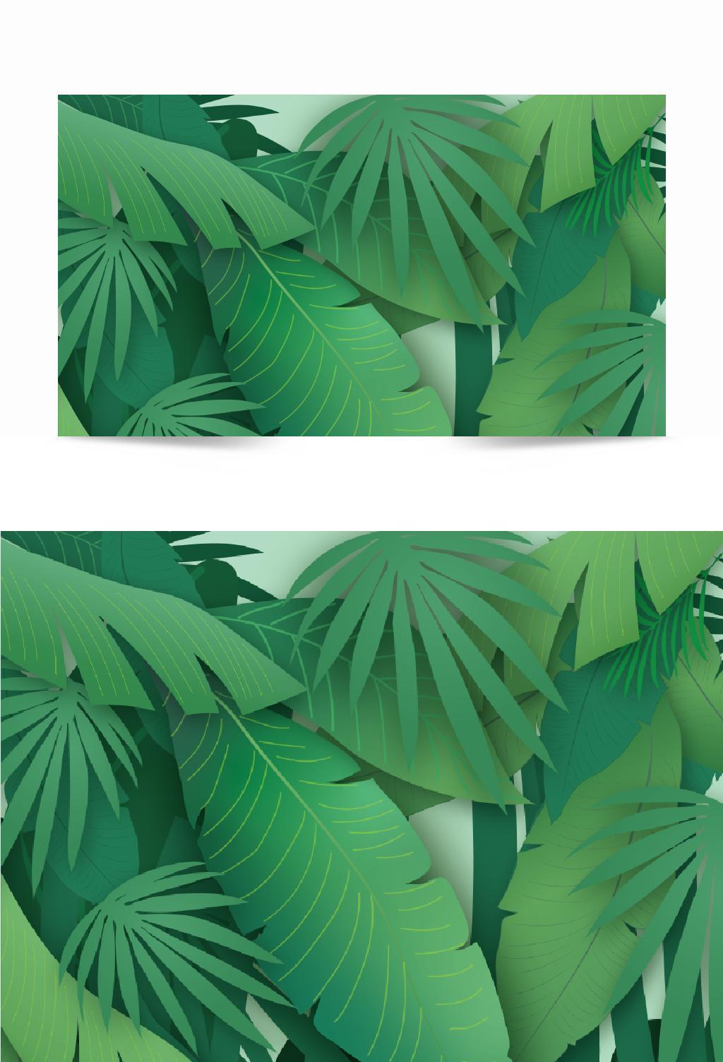 文艺绿色渐变椰子树背景