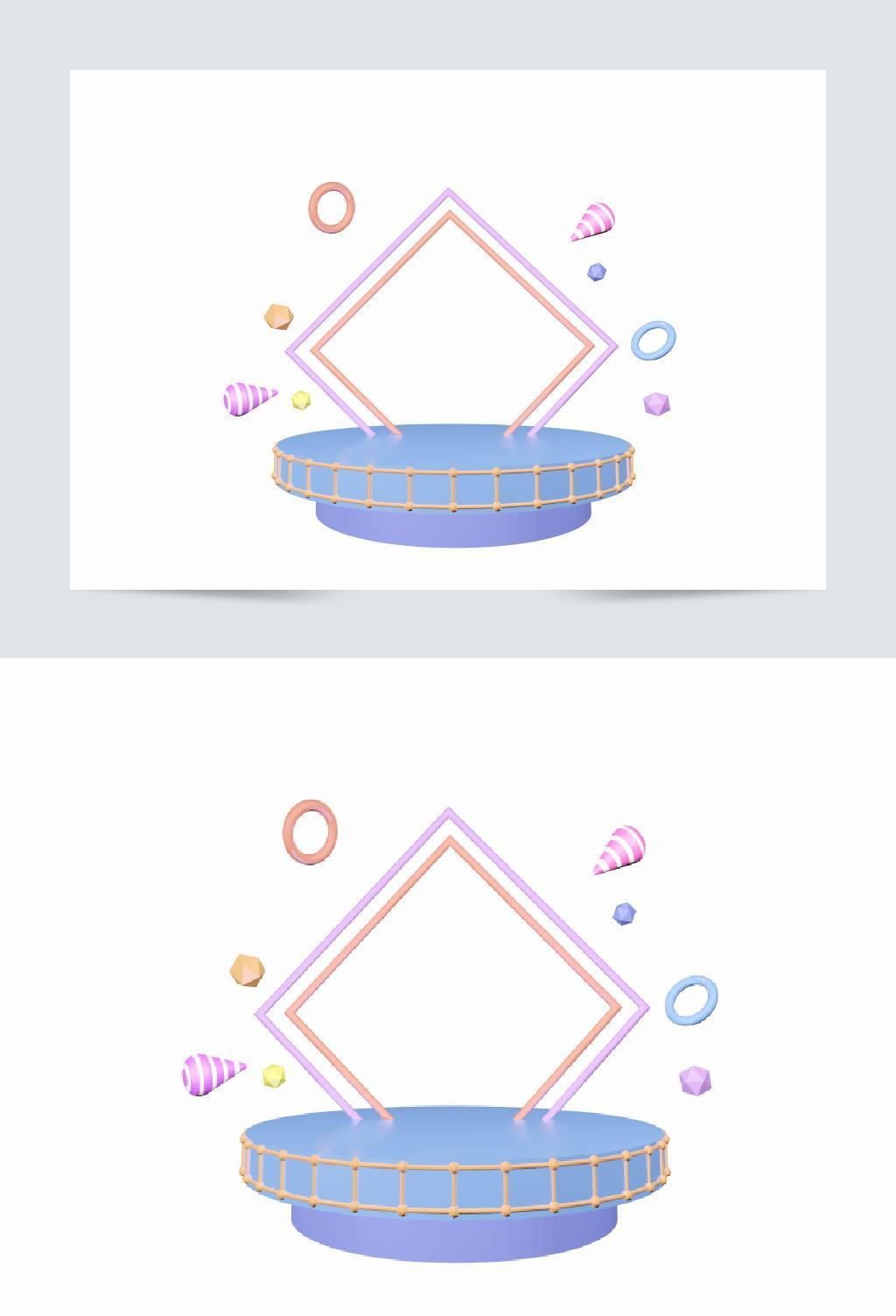 紫色立体菱形C4D背景舞台