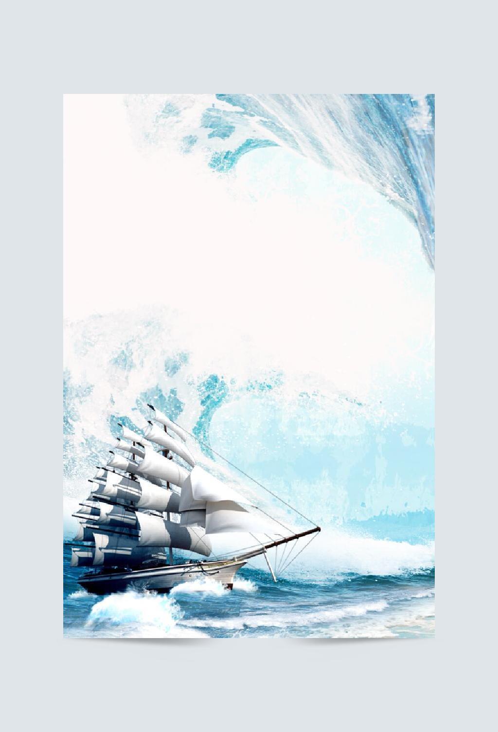 蓝色帆船海浪招聘背景素材