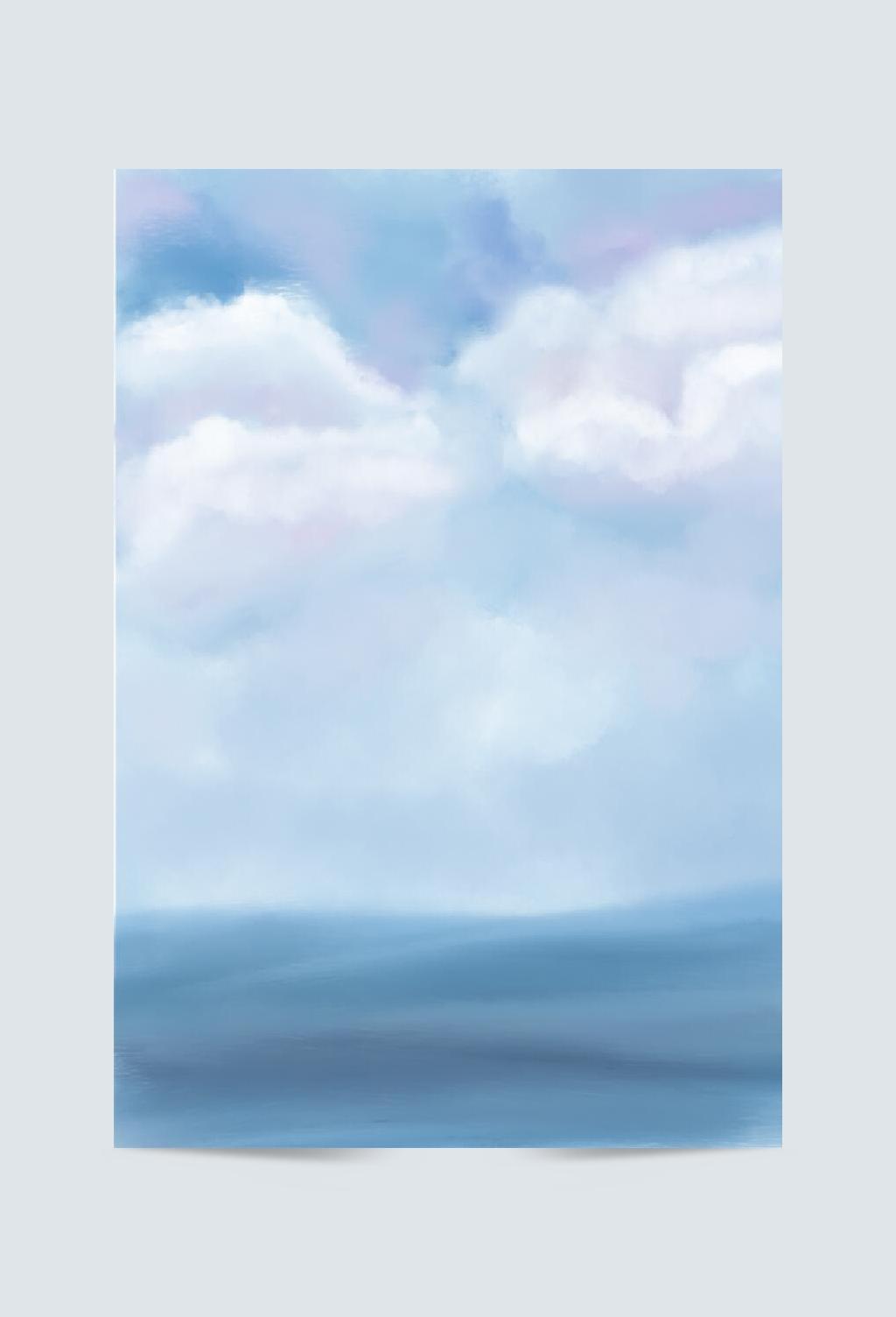 大海蓝天白云背景图