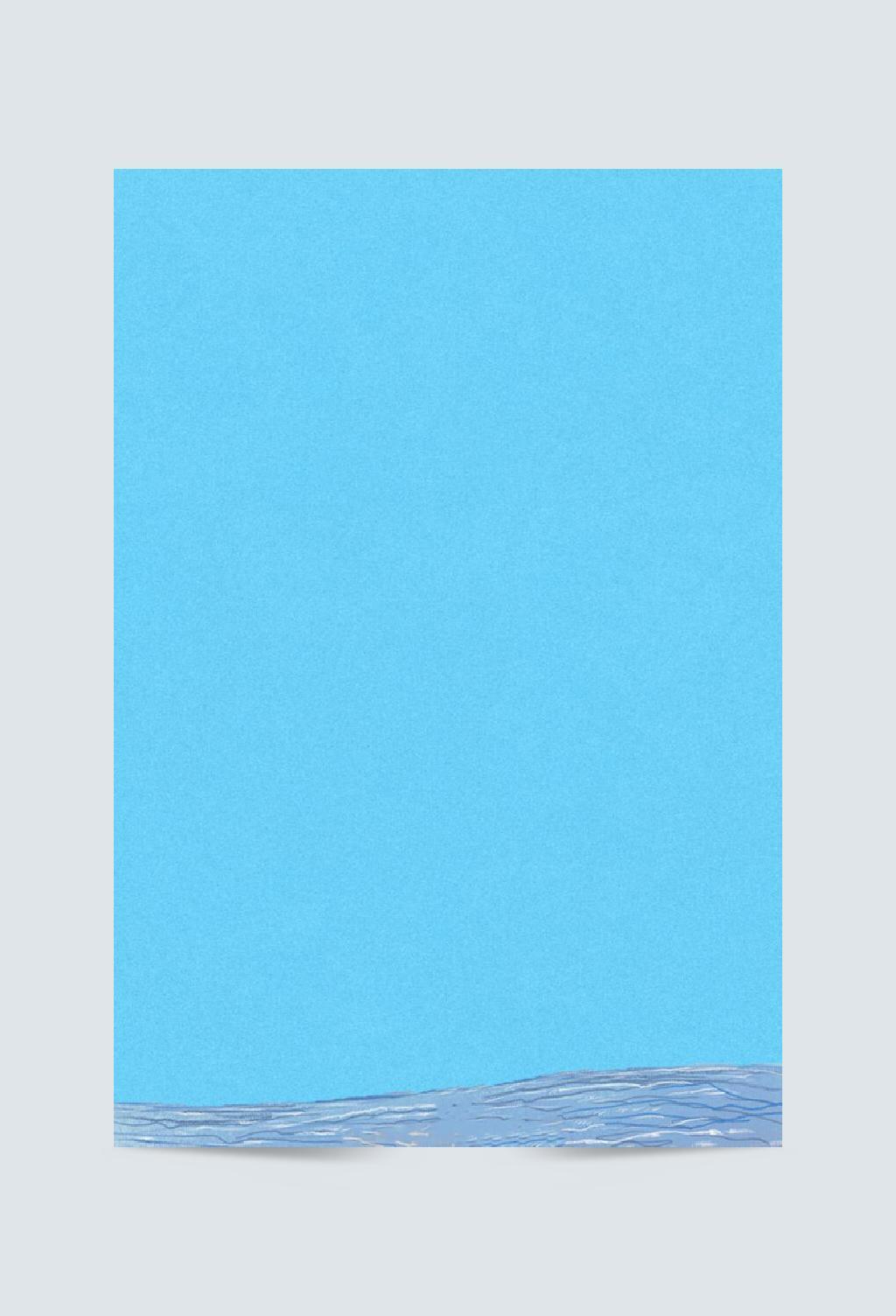 手绘蓝色海滩海报设计背景图