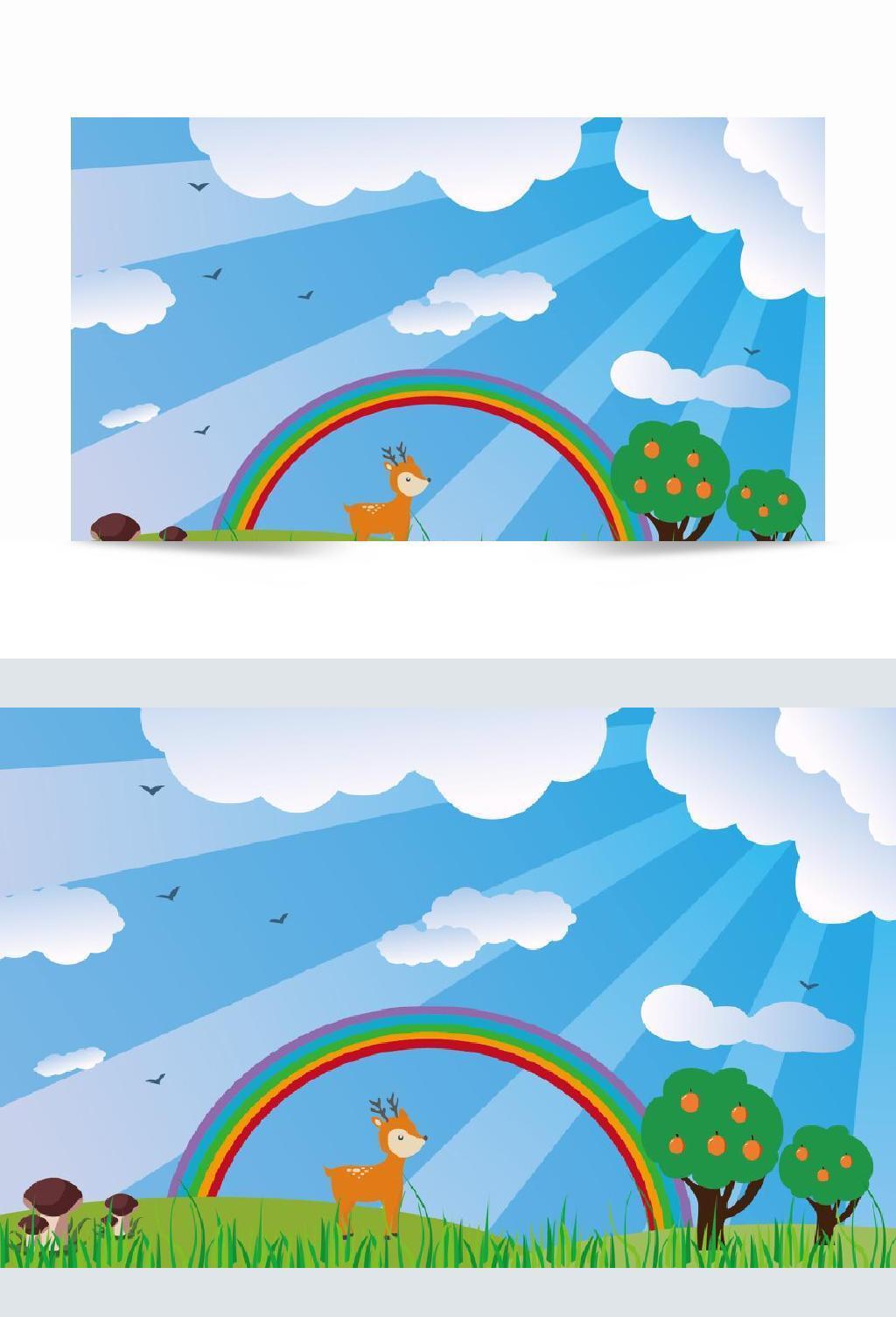 卡通手绘原创蓝天草地场景背景素材