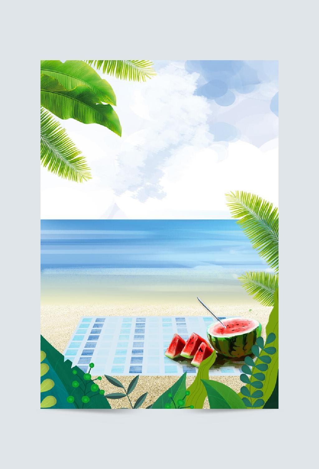 蓝色清新大海立夏背景素材