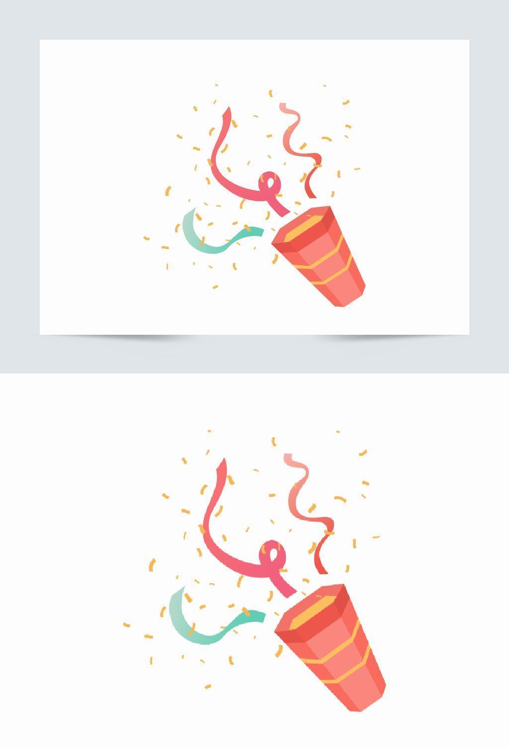 创意卡通手绘喷桶彩带