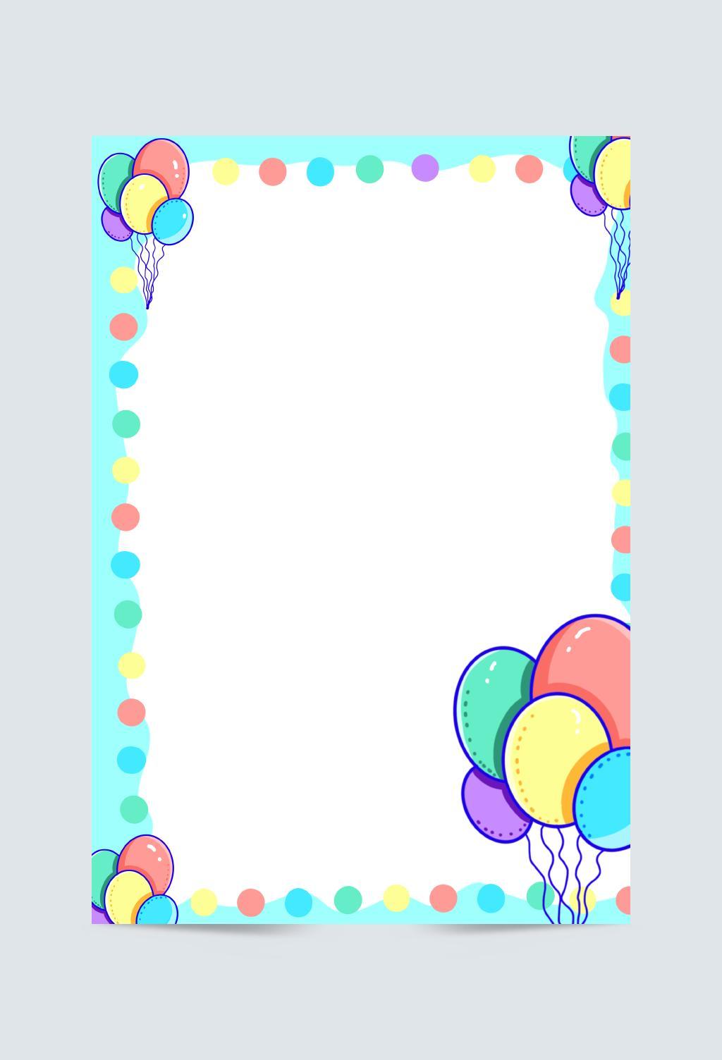 彩虹色气球卡通可爱儿童元素背景