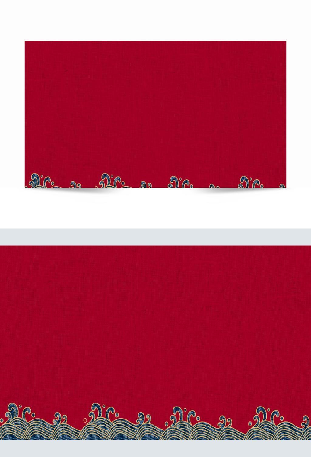 中国风国潮红色波浪纹理材质简约中式大气古典背景