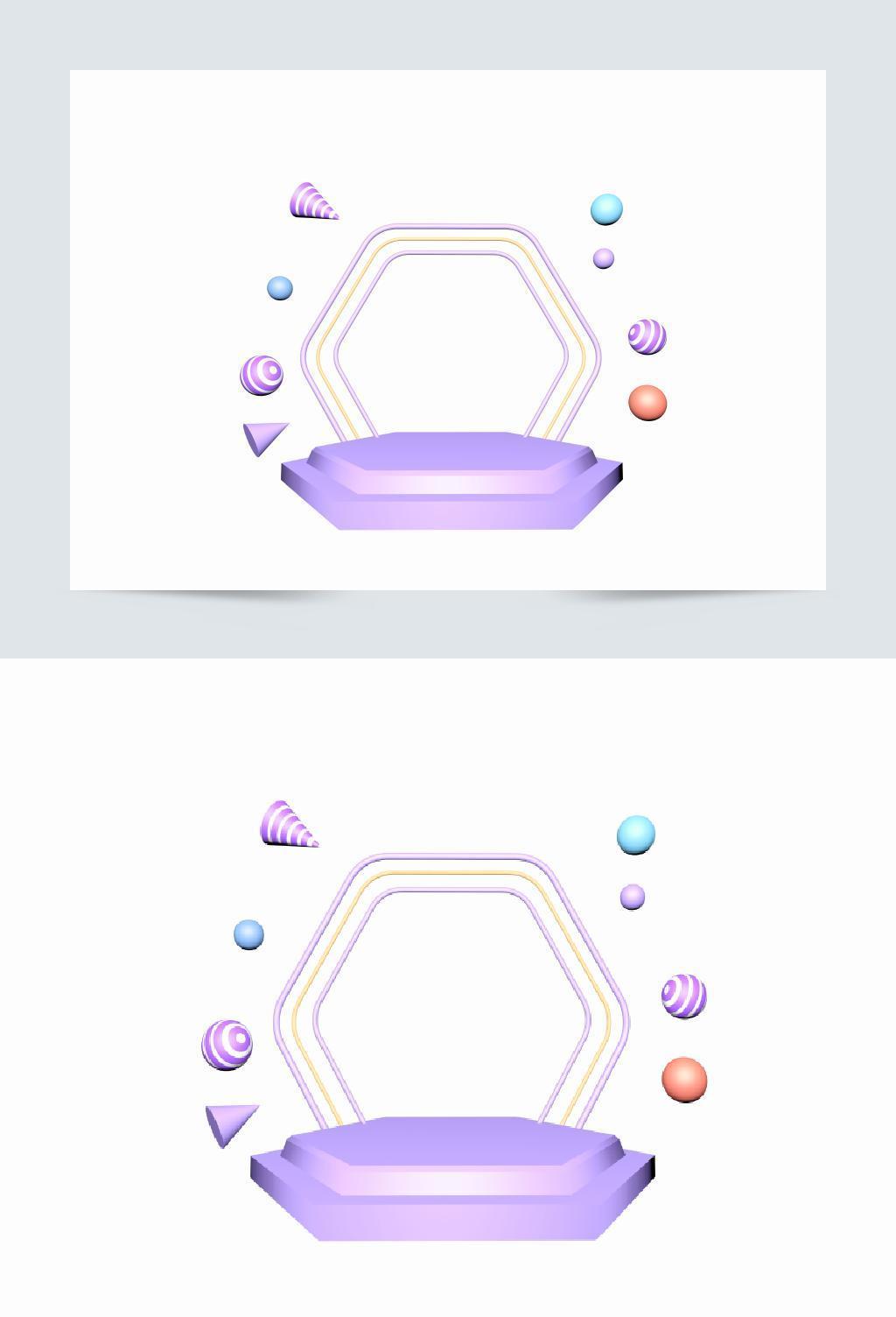 C4D紫色系立体舞台