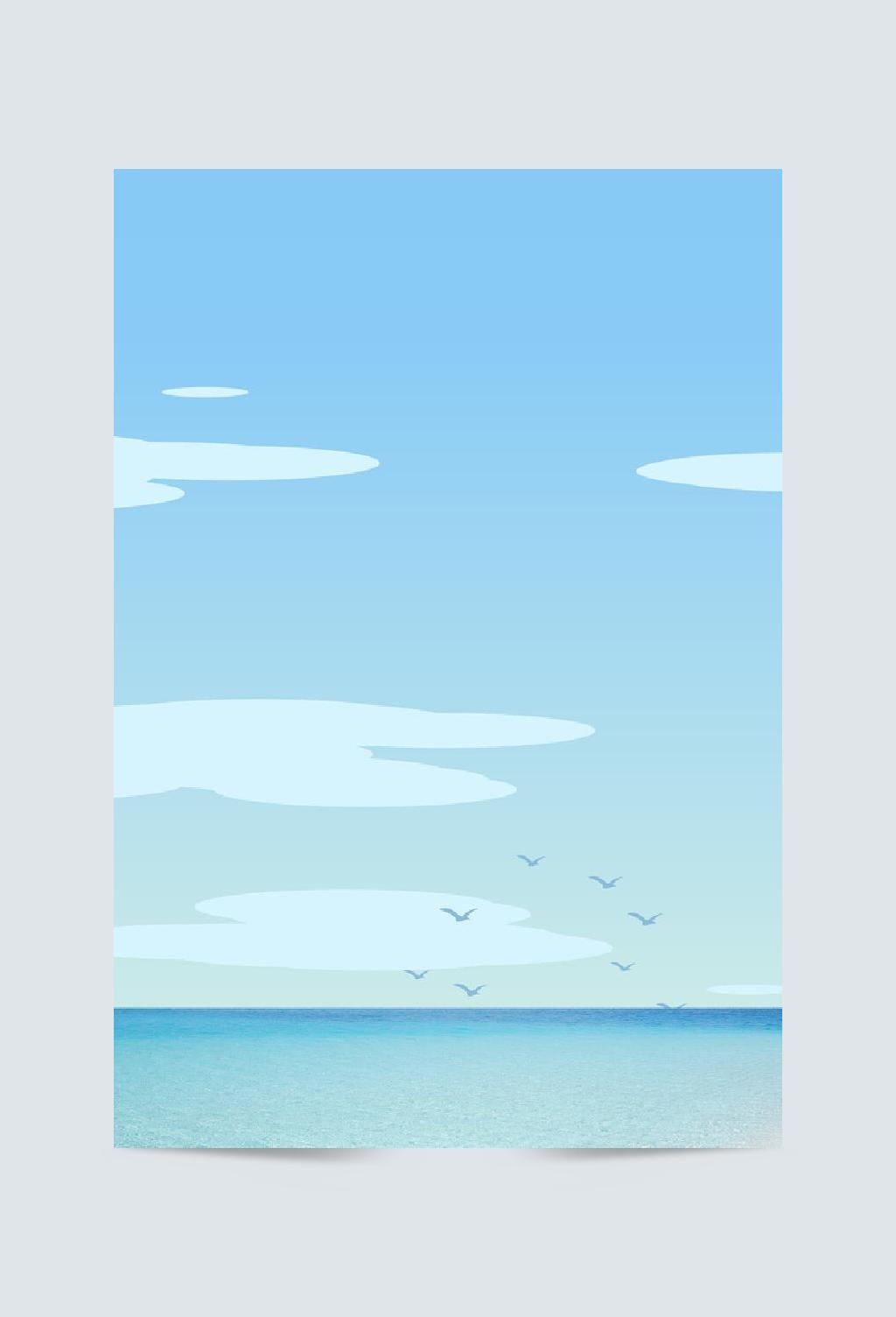 大海卡通蓝色系海报设计背景图