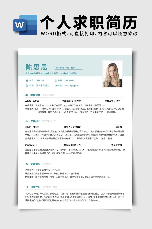 清新软件工程师岗位word简历模板