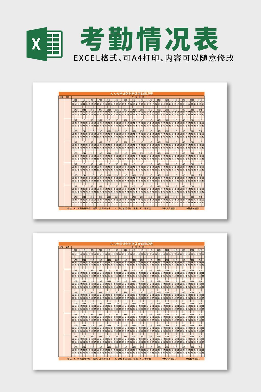 教育培训大学计划财务处考勤情况表excel表格模板