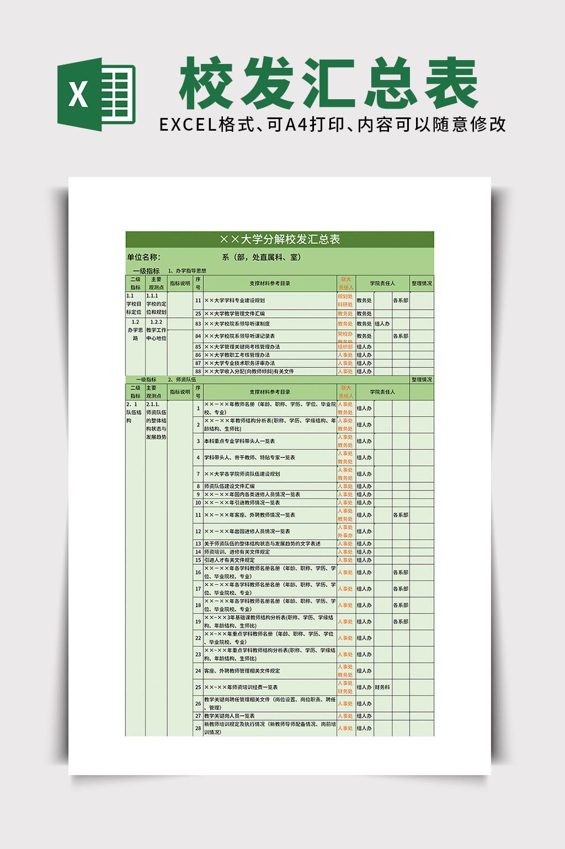 教育培训大学分解校发汇总表excel表格模板