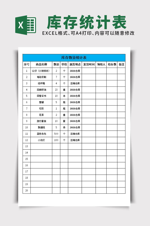 仓库库存数量统计表EXCEL表格模板