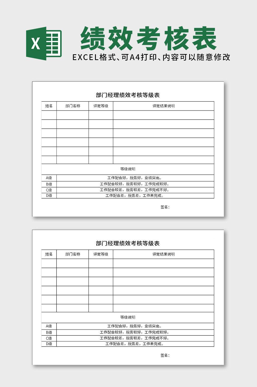 部门经理绩效考核等级表EXCEL表格模板