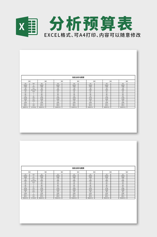 财务会计财务分析与预算excel表格模板