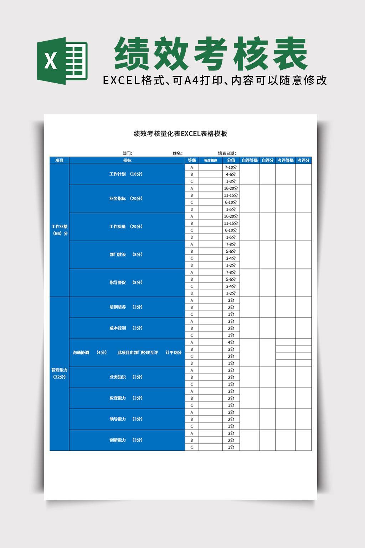 行政人事绩效考核量化表EXCEL表格模板