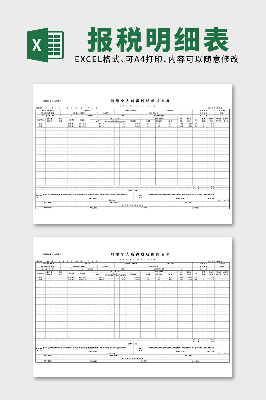 财务会计报税明细表excel表格模板