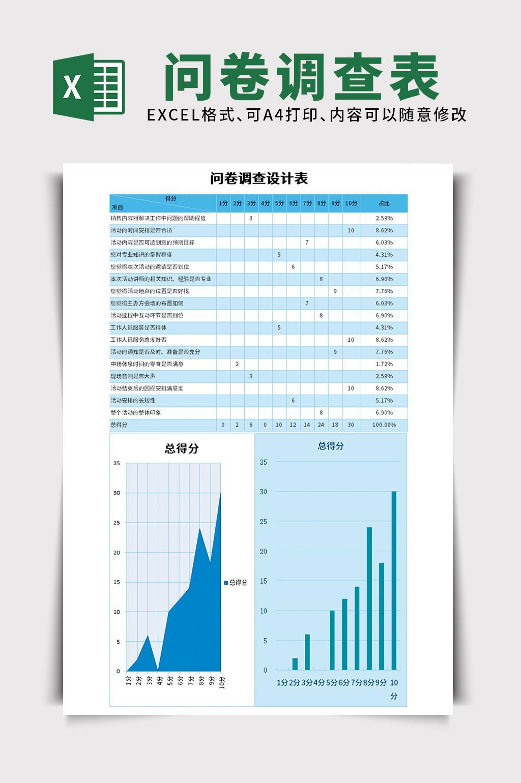 蓝色问卷调查数据统计客户调研excel表格模板
