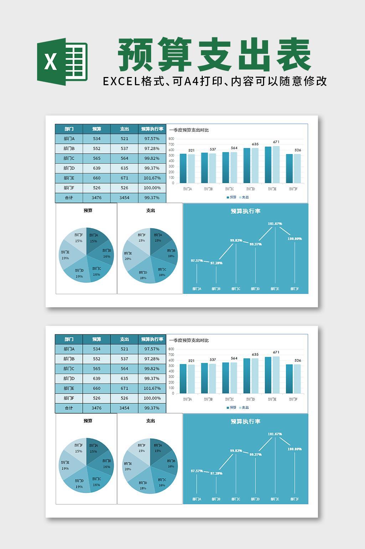 蓝色预算支出统计表Excel表格模板