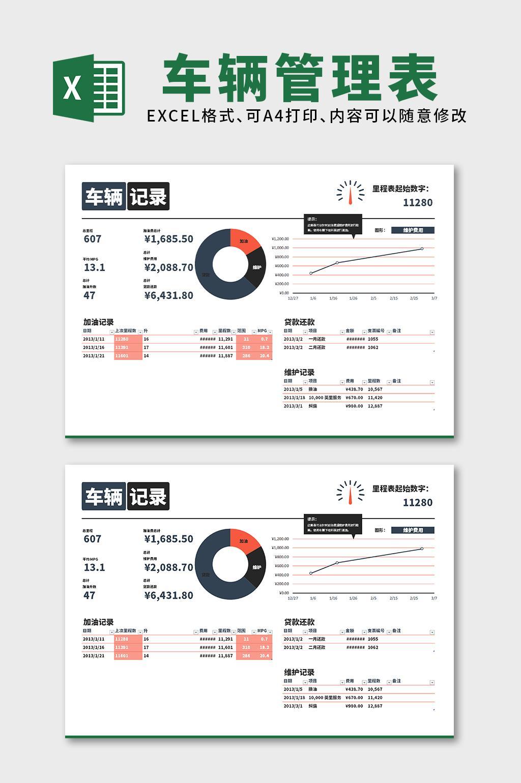 车辆维护管理记录日志Excel表格模板
