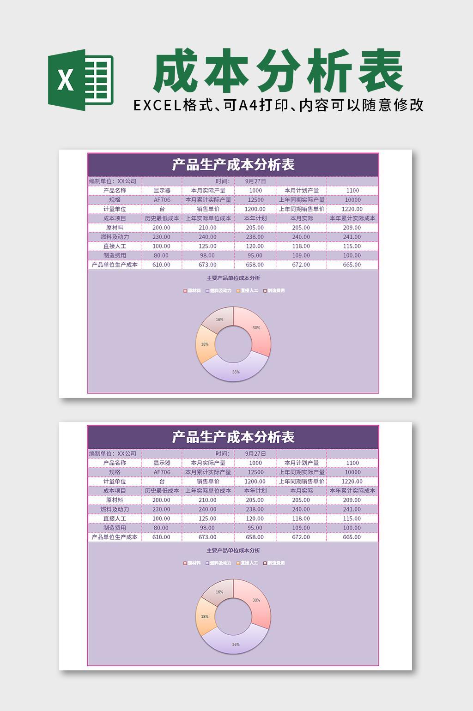 紫色产品生产成本分析表Excel表格模板