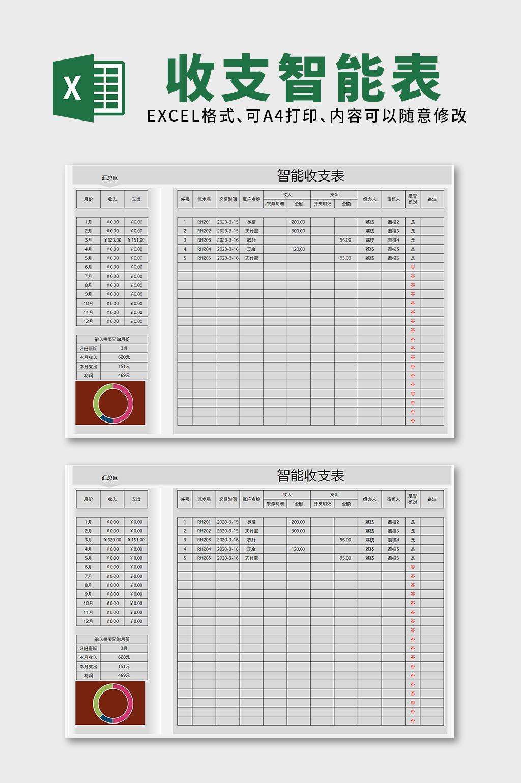 超级智能收支表表格模板