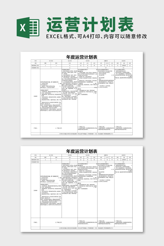 年度运营计划表excel文档模板