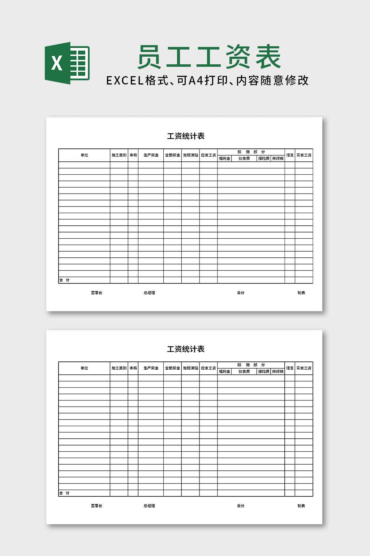 工资统计表excel表格模板