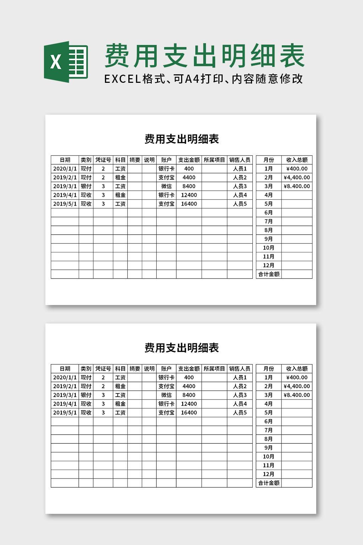 费用支出记账明细表excel表格模板