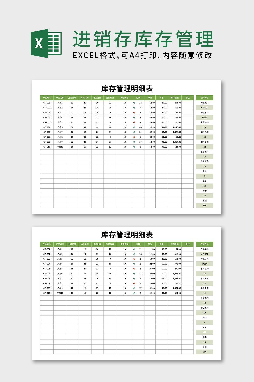 进销存库存管理明细表仓库管理EXCEL表格模版