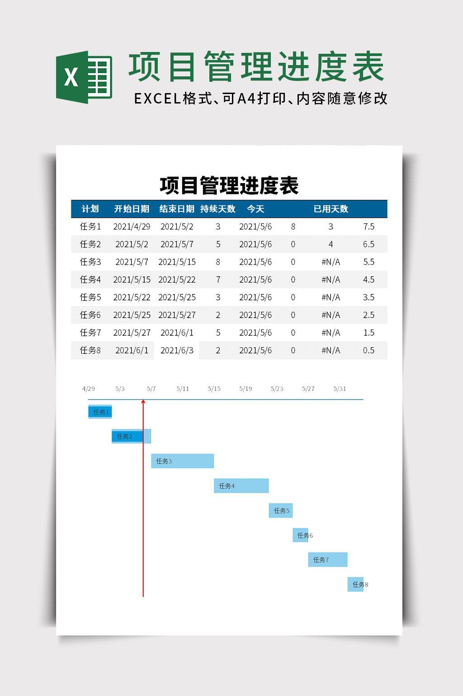 项目管理进度表excel模板