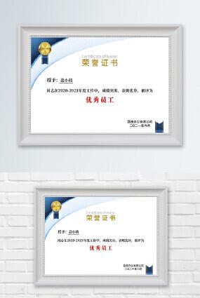 高端蓝色线条勋章公司企业优秀员工荣誉证书