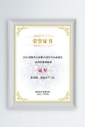 金色大气企业公司运动会拔河比赛团体赛冠军奖状荣誉证书模板
