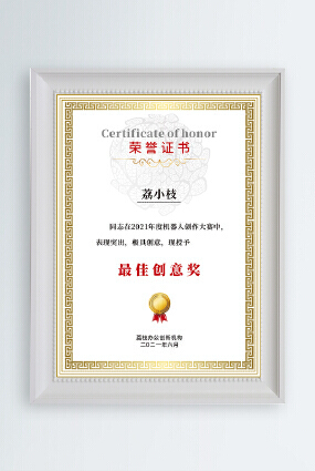 金色边框花纹创意比赛最佳创意奖颁奖证书