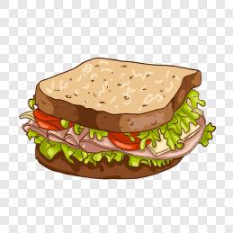 手绘卡通吃货节美食汉堡包免抠图元素