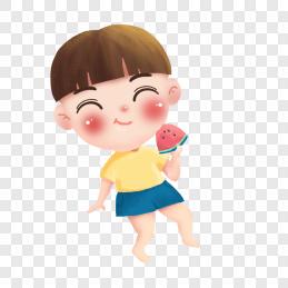 手绘夏天吃西瓜男孩