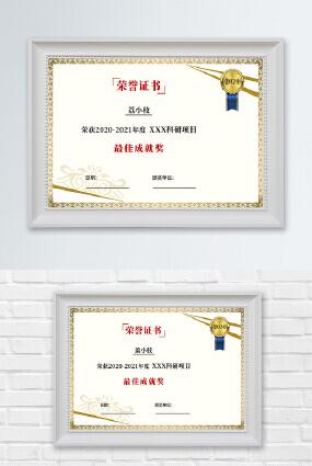 烫金花纹边框勋章颁奖最佳成就奖荣誉证书